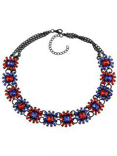 Geometric Faux Gem Choker Necklace - Blue And Red