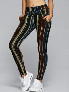 Active Stripe High Waisted Leggings - Brown