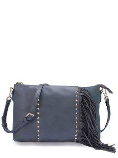 PU Leather Rivet Fringe Crossbody Bag - Blue