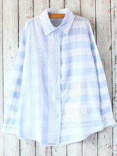A Line Striped Oversized Shirt - Blue And White