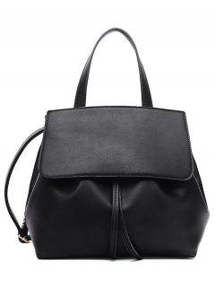 PU Leather Cover Drawstring Tote - Black