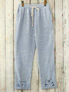 Straight Cut Embroidered Casual Pants - Blue And White
