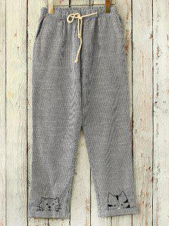 Straight Cut Embroidered Casual Pants - Grey And White