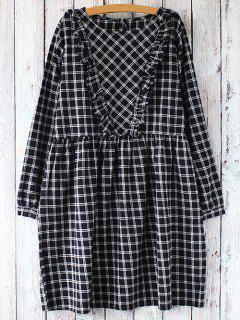 Plaid Long Sleeve Smock Dress - White And Black