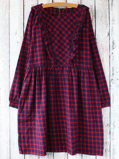 Plaid Long Sleeve Smock Dress - Red With Black