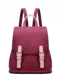Buckle Strap Textured PU Leather Backpack - Red