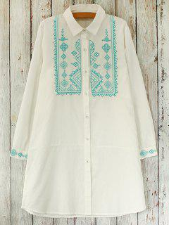 Embroidered Bib Long Sleeve Shirt Dress - White