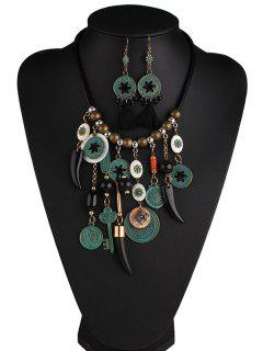 Floral Key Coins Beaded Jewelry Set - Black