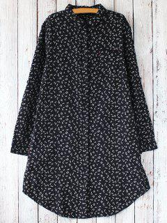 Tiny Floral Long Sleeve Shirt Dress - Black
