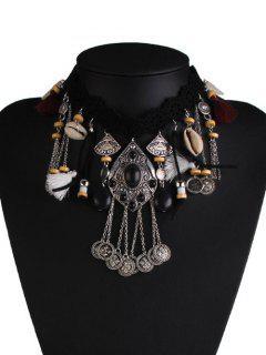 Alloy Shell Floral Tassel Geometric Necklace - Black