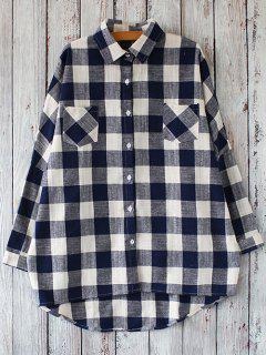Linen Blend Plaid Oversized Shirt - White And Black