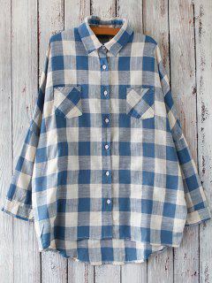 Linen Blend Plaid Oversized Shirt - Blue And White