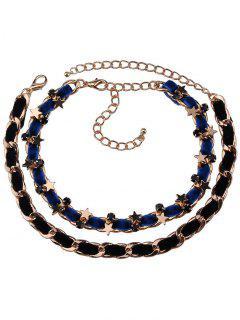 Alloy Faux Leather Velvet Pentagram Necklaces - Blue And Black