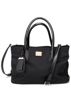 Pendant PU Leather Spliced Nylon Tote Bag - Black