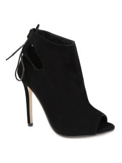 Hollow Out Tie Up Black Peep Toe Shoes - Black 40