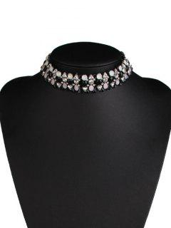 Rhinestone Alloy Water Drop Triangle Necklace - Black