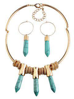 Bullet Faux Rammel Pendant Jewelry Set - Lake Blue