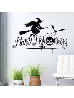 Waterproof Happy Halloween Pumpkin Witch Room Wall Sticker - Black