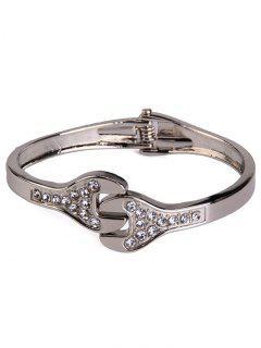 Alloy Rhinestone Wrench Shape Cuff Bracelet - Silver