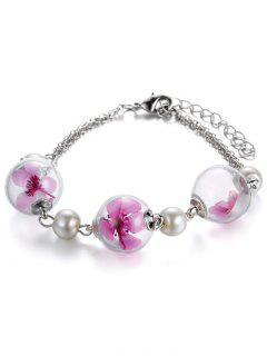 Artificial Pearl Glass Dry Floral Bracelet - Pink