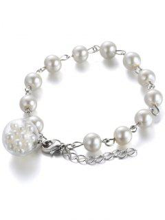 Faux Pearl Glass Beaded Charm Bracelet - White