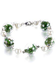 Verre Plante Sec Faux Perle Bracelet - Vert