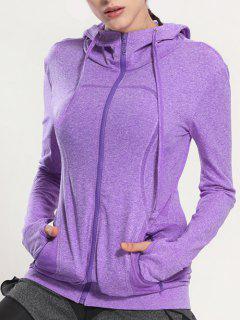 Zip Through Sports Hoodie - Purple L