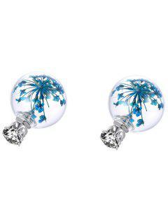 Pendientes Bola De Cristal De Diamantes De Imitación En Seco Babysbreath - Azul