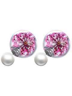 Dry Sakura Glass Faux Pearl Earrings - Pink