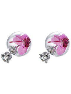 Dry Flower Glass Ball Rhinestone Earrings - Pink