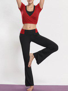 Sports Bra + Cropped Tee + Flared Yoga Pants - Red M