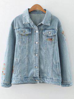 Brodé Jeans Veste - #addfff S