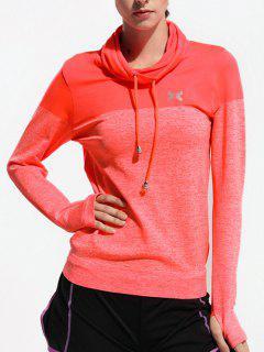 Camiseta De Deportes De Cuello Alto - Rojo Anaranjado S