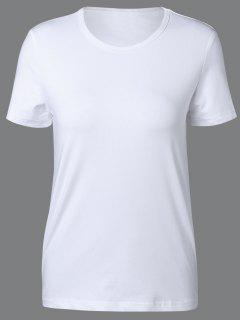 Cuello Redondo Manga Corta Camiseta - Blanco Xl