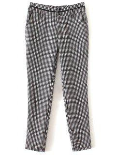 Houndstooth Tapered Trousers - White And Black S