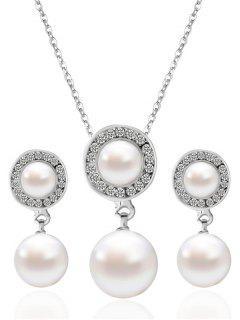 Conjunto De Joyas Diamantes De Imitación Perla Artificial Ronda - Blanco