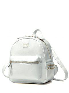 Metal Rivets Zippers PU Leather Backpack - White