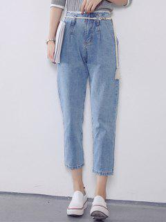 Taille Haute Ceinturée Jeans - Bleu Clair S
