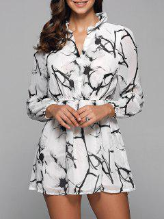 Ruff Collar Long Sleeve Chinese Painting Print Shirt Dress - White M