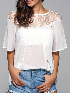 Cuello Redondo See-Through Del Cordón De La Blusa Empalmado - Blanco S