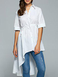 Shirt Neck Dovetail Belted Shirt Dress - White