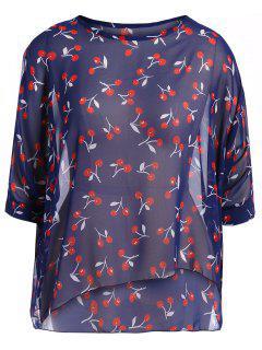 Cuello Redondo Cereza De Impresión Más El Tamaño De La Blusa De Gasa - Azul Xl