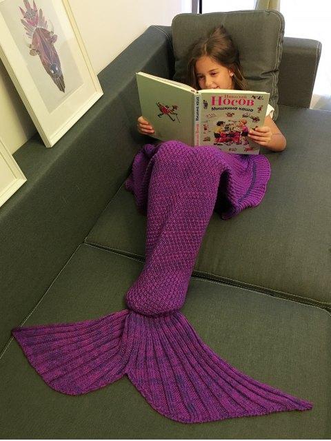 best Flounced Knitted Mermaid Tail Blanket - PURPLE  Mobile
