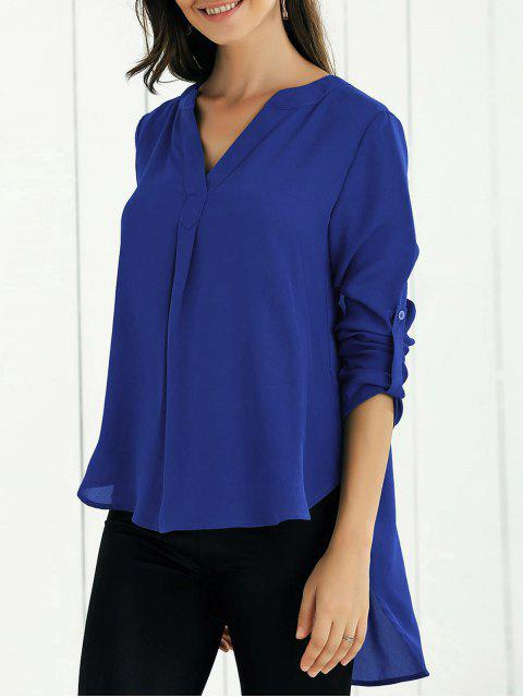latest High Low Chiffon Top - SAPPHIRE BLUE M Mobile