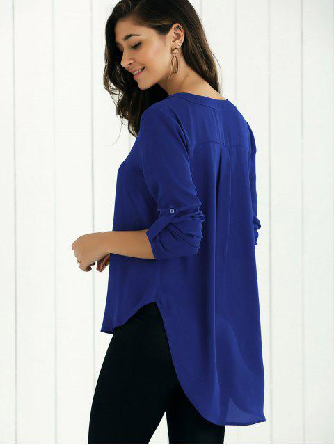 trendy High Low Chiffon Top - SAPPHIRE BLUE S Mobile