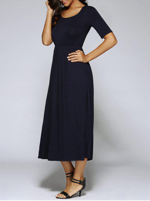 Vestido Altura Cintura Plisado Corte A - Negro S Mobile