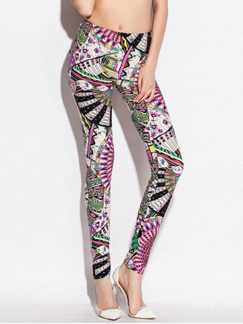 outfit Skinny Elastic Waist Big Pinwheel Print Leggings - COLORMIX ONE SIZE Mobile