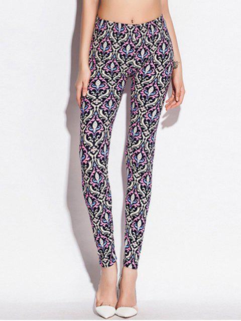 outfits Skinny Elastic Waist Ornate Print Leggings - COLORMIX ONE SIZE Mobile