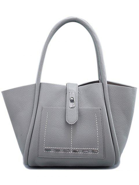 new Stitching Hasp Textured Shoulder Bag - GRAY  Mobile