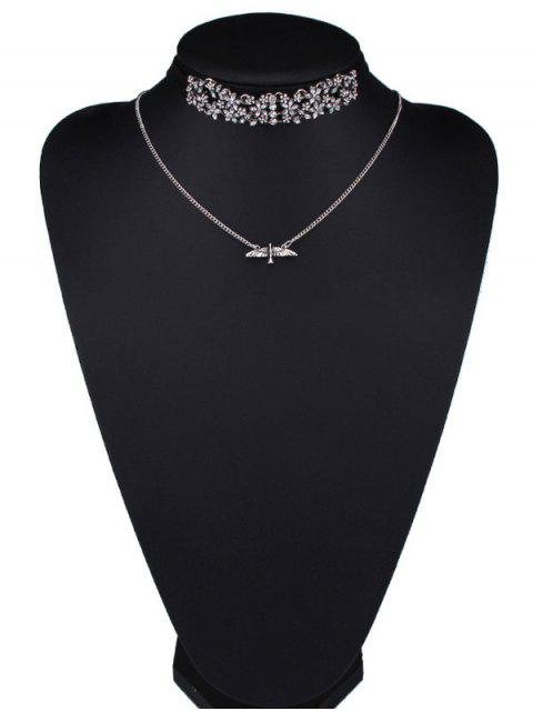 chic Rhinestone Fly Eagle Wings Blossom Necklaces -   Mobile